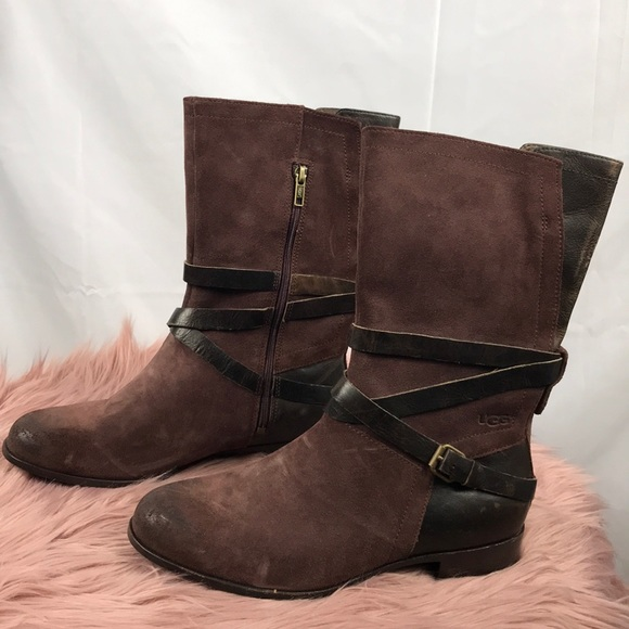 preview of save up to 80% offer discounts UGG Deanna Brown Suede Plain Mid Calf Boots NWT